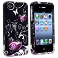 eForCity Snap-on Case Compatible with Apple? iPhone? 4 / 4S, Black / Purple Love Heart
