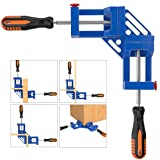 Right Angle Clamp, Housolution Single Handle 90° Aluminum Alloy Corner Clamp, Right Angle Clip Clamp Tool Woodworking Photo Frame Vise Holder with Adjustable Swing Jaw (Double Handle, 11-Blue) (Color: 11-blue, Tamaño: Double Handle)