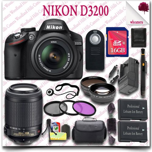 Nikon D3200 Digital Slr Camera With 18-55Mm Af-S Dx Vr (Black) + Nikon 55-200Mm Af-S Dx Vr Lens + 16Gb Sdhc Class 10 Card + Wide Angle Lens / Telephoto Lens + 3Pc Filter Kit + Slr Gadget Bag + Wireless Remote 21Pc Nikon Saver Bundle