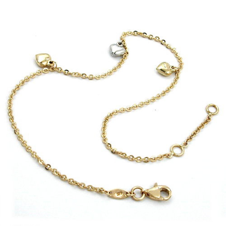 Latotsa 9 karat 375 Gelbgold Gold Fußkette Fußkettchen Kette Ankerkette Anker Goldkette mit Herzen Anhänger Schmuck 25cm schenken