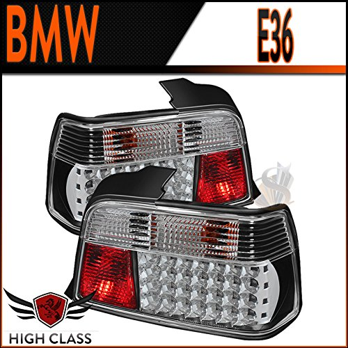 92-1998 Bmw E36 4Dr Black Led Tail Lights Rear Brake Lamps Pair New
