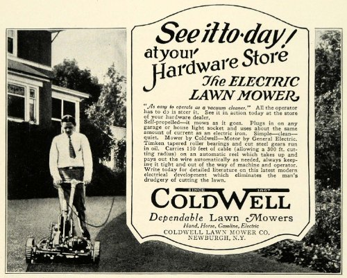 1926 Ad Antique Coldwell Power Push Electric Lawn Mowers Landscaping Tools Ny - Original Print Ad