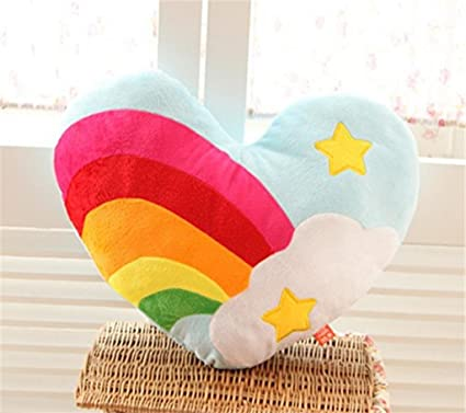 Wantop Rainbow heart shaped pillow Throw Pillows Cushions Gift of love - Five-pointed star
