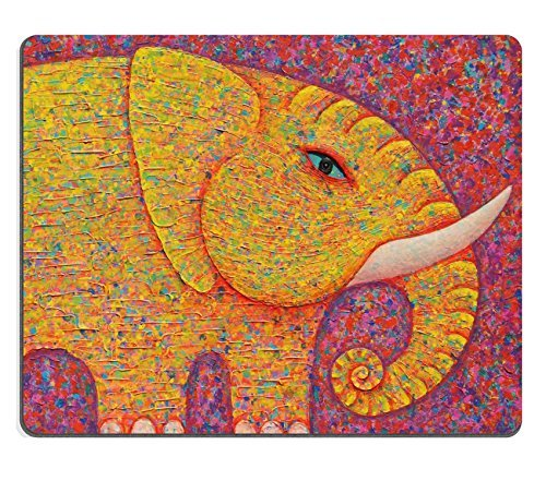 mousepads-yellow-elephant-on-red-background-original-acrylic-painting-on-canvas-image-id-39351015-by
