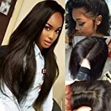 100% Unprocessed Brazilian Virgin Human Hair Full Lace Wig Glueless 360 Frontal Lace Wigs Long Natural Straight With Pre Plucked Baby Hair,20Inch (Tamaño: 20inch)