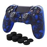 Pandaren Anti-slip Silicone Cover Skin Set for PS4 /SLIM /PRO controller(Blue Skull controller skin x 1 + FPS PRO Thumb Grips x 8) (Color: Blue Skull, Tamaño: PS4)