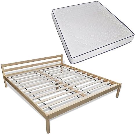 vidaXL Holz Bett 200 x 180 cm mit Memory Foam Matratze