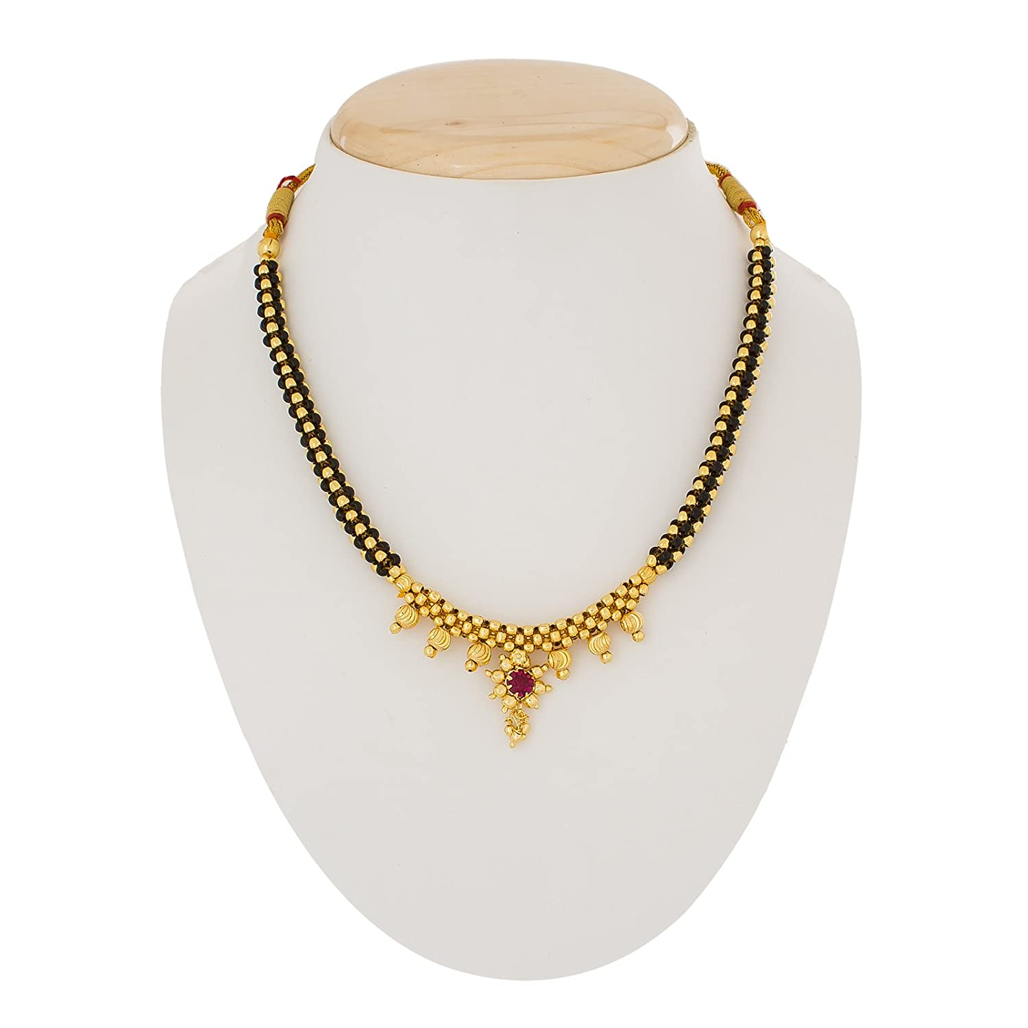 Gold Plated Alloy With Pearls Mangalsutra Necklace For Women-Life Keep Teaching