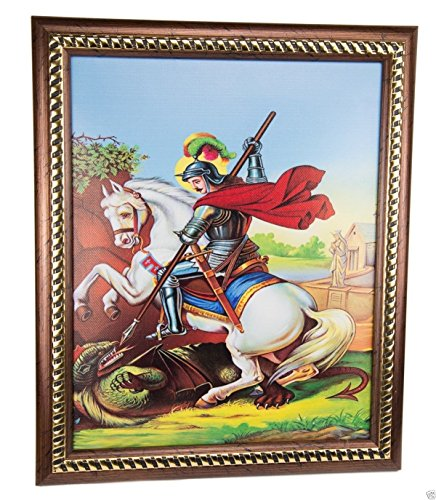 """Framed Saint George and The Dragon Wall Picture Padded Plaque Holy Land 11.4"""""""