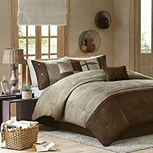 Madison Park Boone 7 Piece Comforter Set, Queen, Brown