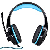 MISS&YG G9000 3.5Mm Gaming Headphone Headset Earphone Headband Microphone LED Light Computer Tablet Mobile Phones,Blue (Color: Blue)