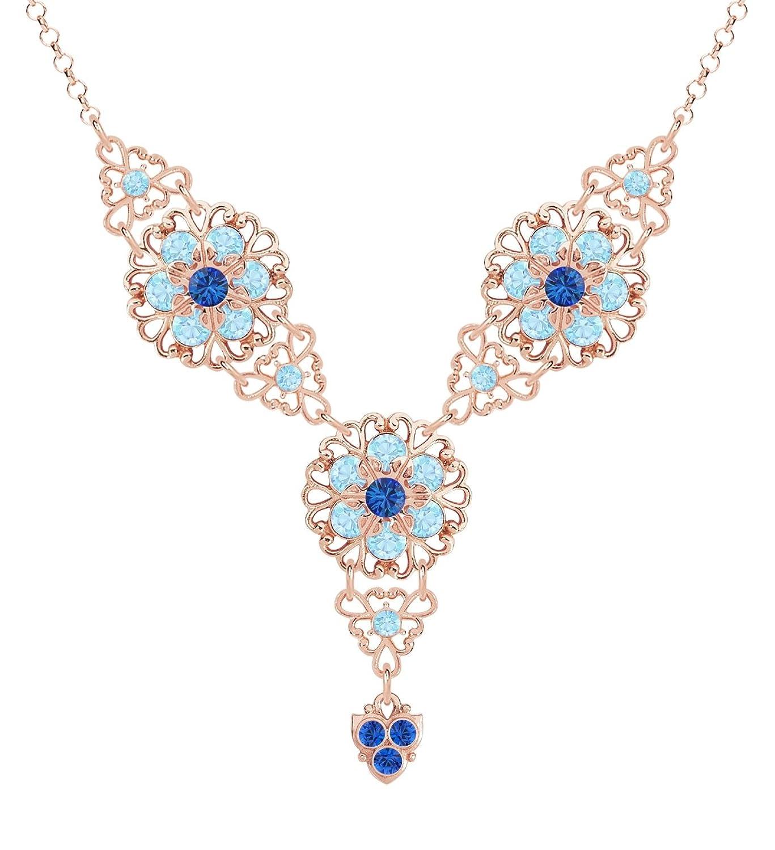 Lucia Costin - Halskette - Damen - 925 Silber und 24K Rosa Vergoldet - Mit Blau, Hellblau Swarovski Kristalle, Lace-Like Schmuck, ausgefallene Charms und Punkte - Handgefertigt in den USA