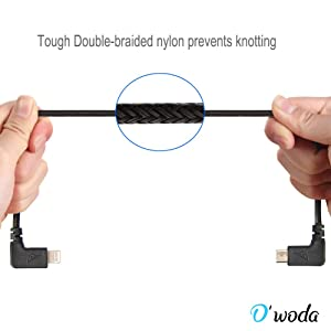 O'woda Micro USB to Lightning Data Cable 11.4inch Nylon Braided Reverse Micro USB Connector for DJI Mavic Pro / Spark to iPhone iPad (Black)