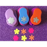 Fascola 3PCS different beautiful Flowers Shape 1 inch craft punch set Scrapbook DIY Paper Cutter EVA foam Hole Punches (Color: Castle)