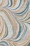 Jaipurrugs Hand-Tufted Soft Hand Wool/ Art Silk Blue/Tan Grace Rectangle Rug Border Color Antique White 2X3