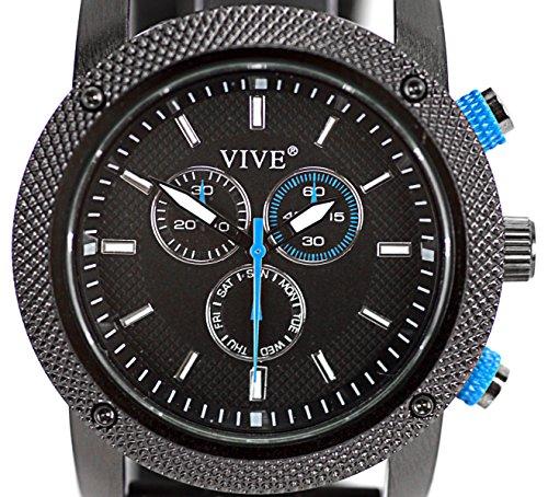 VIVE® Banger Sportlicher Chronograph for Men Navigator Herrenuhr Atlas Modell Weltzeituhr Schwarz Blau mit Silikonarmband