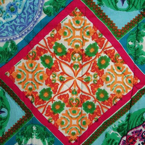 indian Gudri decoración para el hogar hechos a mano edredón tamaño doble colcha estampado geométrico azul 84