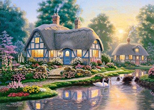 Puzzle 1000 Teile - großes Cottage Walkway - Richard Burns - Landschaft romantisch englisches Gartenhaus Zeichnung Garden gemalt Garten Blumen am Fluß Haus mit Schilfdach