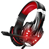 BENGOO Stereo Gaming Headset for PS4, PC, Xbox One Controller, Noise Cancelling Over Ear Headphones Mic, LED Light, Bass Surround, Soft Memory Earmuffs for Laptop Mac Nintendo Switch Games -Red (Color: Red)