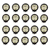 "Masione 5"" Inch Round 27watt LED Work Lamp Light 2160 Lumen, Off Road, Atv, Utv, Polaris Ranger (20 Pack, 27W Round, Flood Light)"