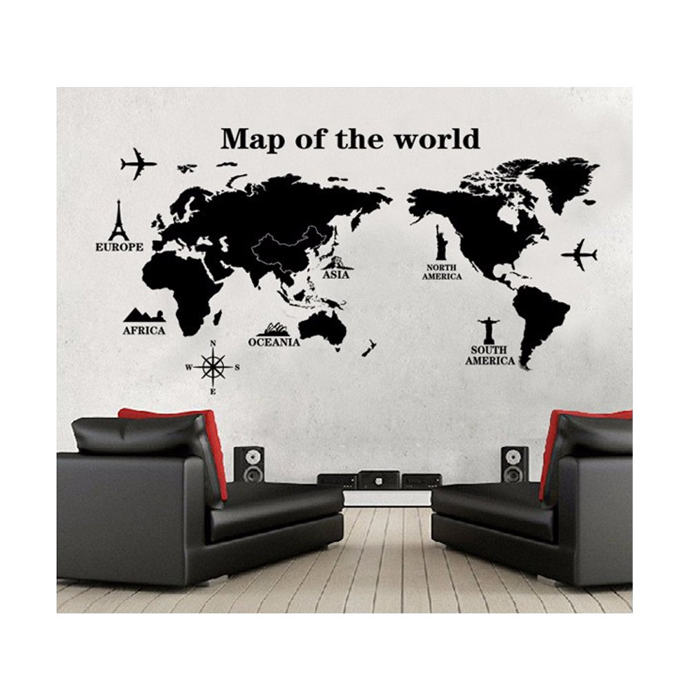 Wall stickers map of the world - Buy Uberlyfe World Trip Map Wall Sticker Size 4 Wall Covering Area 80cm X 140cm Ws 000131 Online At Low Prices In India Amazon In