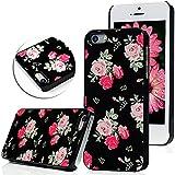 YOKIRIN Case Cover für iPhone 5 5G 5S Hülle Metall Aluminium und PC Hardcase Rosa Rose Blume Flower Muster bei Schwarz Hintergrund Design Schutzhülle