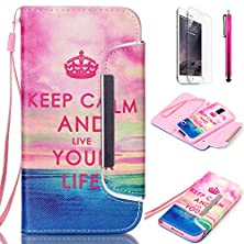 buy Galaxy S6 Case, Jcmax Flip Premium Detachable Pu Leather Case Bulit In Card Slots, Cash Compartment And Detachable Wrist Strap For Samsung Galaxy S6 [Keep Calm]