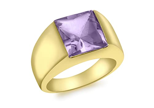 Carissima Gold 9 ct Yellow Gold Large Square Amethyst Dress Ring