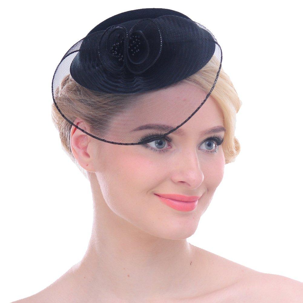FAYBOX Vintage Mesh Net Wool Felt Pillbox Flower Women Fascinator Hat Hair Clip 0