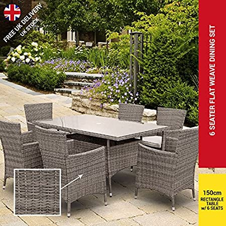 RECTANGULAR RATTAN GARDEN FURNITURE SET DINING TABLE CHAIR OUTDOOR PATIO 6 SEATS