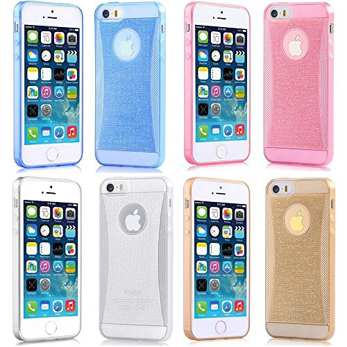 Vandot 4In1 Accessory Set Multi Colored Gel Soft Ultra Slim Thin Bling Silicone Case For Apple Iphone 6 Plus 5.5 Inch Protective Case Cell Phone Protector Case Back Cover Case Shell Protective Bumper Shell Silicone- Green Blue Yellow White - Clear Transpr front-908126