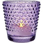 Luna Bazaar Vintage Glass Glass Candle Holder (2.5 Inch, Hobnail Design, Purple) For Use With Tea Lights For Home...