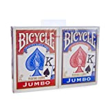Bicycle Jumbo Index Rider Back Playing Cards, Red and Blue, 2 Count (Color: Red, Tamaño: 1-Pack of 2)