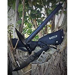 *3er SWAT Set* Tomahawk tactical Axt / Beil + 28cm Outdoor tactical Paracord Messer + 12in1 Survival-Card