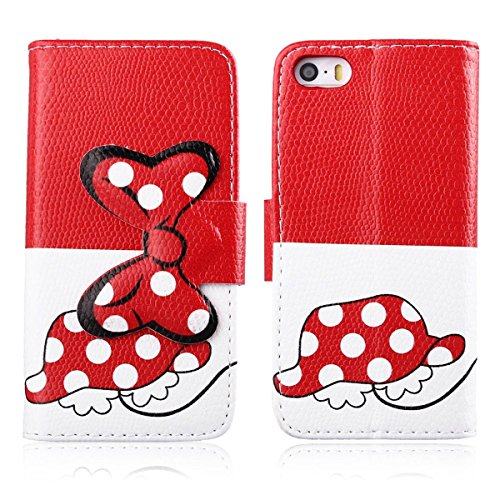 iPhone 6 Case Apple iPhone 6 Wallet Kickstand Case,Tribe-Tiger Minnie Mickey Series Premium Leather[Card Slot][Flip][Stand][Wallet]Cover Case for Apple iPhone 6 4.7 inch(Minnie Dancing)