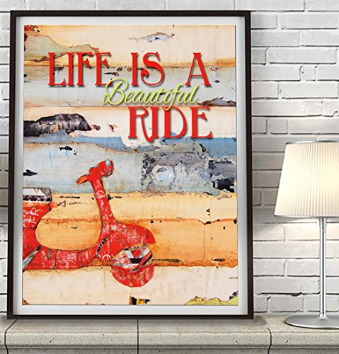 life-is-a-beautiful-ride-danny-phillips-art-print-unframed-red-vespa-motor-scooter-wall-decor-birthd