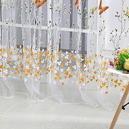 Generic Colorful Buttefly Tulle Voile Door Window Curtain Drape Sheer Valance 1×2.7M