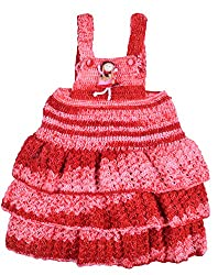 Kuchipoo Hand Knitted Baby Girl Frock (Red)