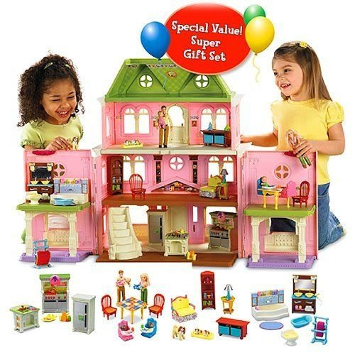 New Girls Gift Fisher Price Loving Family Grand Doll House Dollhouse Deluxe Set Caucasian New front-120603
