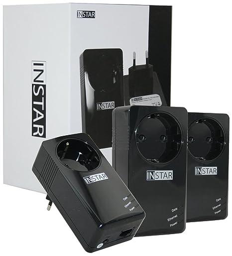 Instar 100376 Kit de démarrage contenant 3mini-adaptateurs CPL avec prise intégrée 500Mbps/s 2W Noir