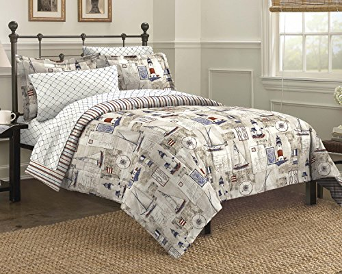 Free Spirit Cape Cod Seaside Sailing Nautical Bedding Comforter Set, Multi-Colored, Queen (Lighthouse Quilt compare prices)