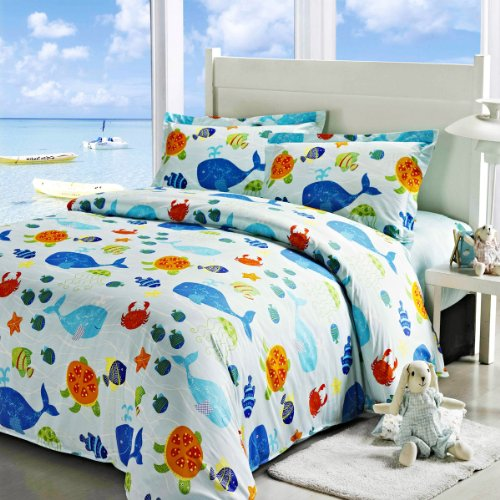 awardpedia ocean park duvet cover set light blue boys bedding kids bedding full size. Black Bedroom Furniture Sets. Home Design Ideas