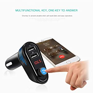 DECPOW Bluetooth FM Transmitter for Car,4.2 Bluetooth Wireless FM Radio Transmitter in-Car Kit Adapter with Hands Free Calling and 2 USB Port Charger,