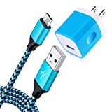 NINIBER Charging Brick Micro USB Cable Charging Compatible Samsung Galaxy A6, J7 Prime/Sky Pro/Pro/Perx/Star,J3V J7V Prime, j3 Emerge/Luna Pro/Eclipse/Mission,On5/On7/On8/S3/J6/J2/J1 Android Charger (Color: 05-Blue)