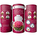 Teabloom Flowering Tea - 12 Heart Shaped Assorted Blooming Tea Flowers in a Beautiful Gift Canister - Fresh New Tea Flowers