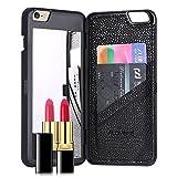 FLOVEME iphone7ケース 鏡付き ミラー付き カード収納 スタンド付きカバー (iphone7ケース, ブラック)