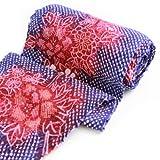有松鳴海絞しぼり浴衣反物「紫がかった紺地に赤い花」一級和裁技能士の国内手縫いお仕立て付絞りゆかたパープルネイビーレッド