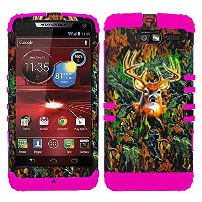 Click for CellPhone Trendz Hybrid 2 in 1 Case Hard Cover Faceplate Skin Pink Silicone and Camo Mossy Hunter Deer Snap Protector for Motorola DROID RAZR M (XT907, 4G LTE, Verizon)
