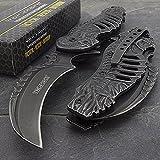 Tac-force Spring Assisted Open Skull Skeleton Claw Folding Blade Pocket Knife (Color: Stonewash Gray)