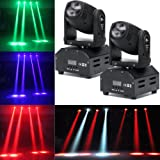 LED Head Moving Light Rotating Moving Head DMX512 Sound Activated Master-slave Auto Running RGBW Color Changing Beam Light for Disco KTV Club Party (2Pack) (Color: 2Pack)